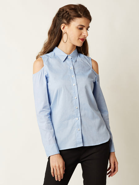 Vacant Minds Cold Shoulder Shirt