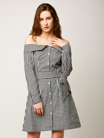 Complete Potential Bardot Shirt Dress