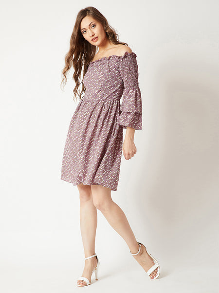 Keep Shining Ruffled Bardot Dress