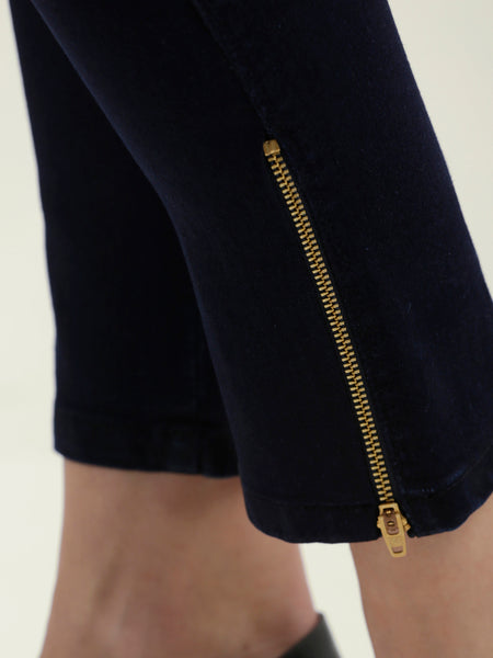Just Let It Go Zipper Stretch Jeggings Navy Blue