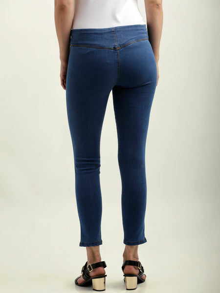 Wake Your Dreams Zipper Stretch Jeggings Blue