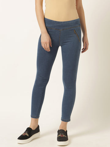 Value For Real Zipper Jeggings Blue