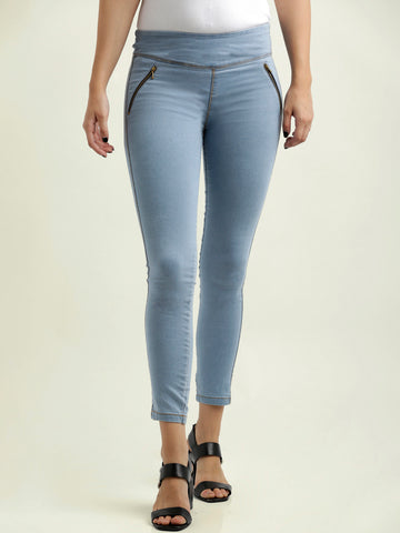 One dance zipper skinny jeggings light blue