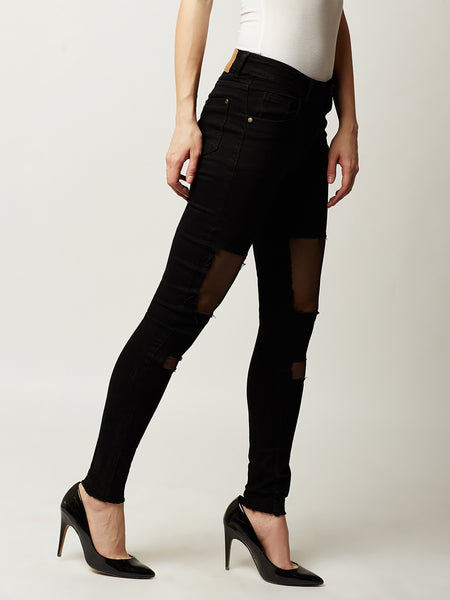 Haters Regret Sheer Patch Highrise Jeans Black