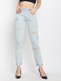Sweet Like Honey Boy Friend Cut Ripped Jeans Light Blue