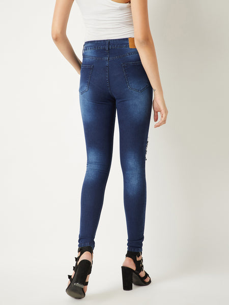 Check list lace patch jeans