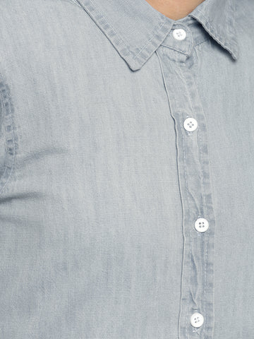 Off The Hook Denim Shirt Light Blue
