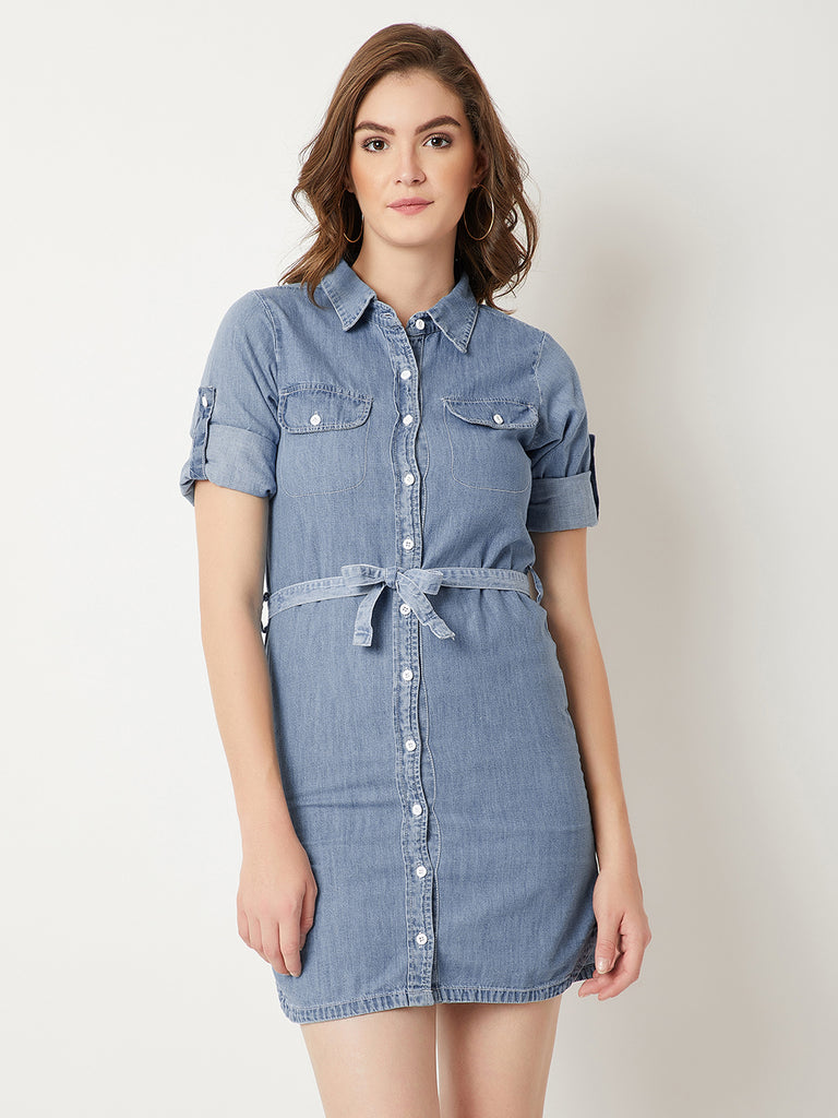 d74365b6ae Something Just Like You Belted Denim Shirt Dress Light Blue – Miss Chase