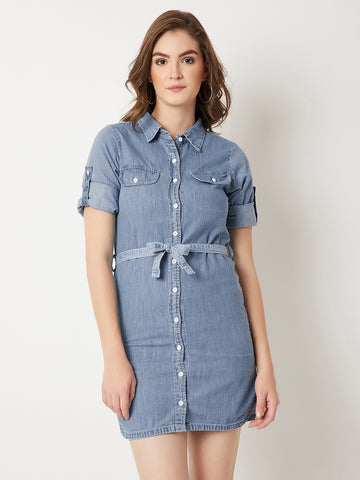 Something Just Like You Belted Denim Shirt Dress Light Blue