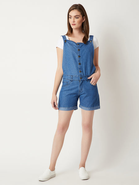 Good For You Short Denim Dungaree