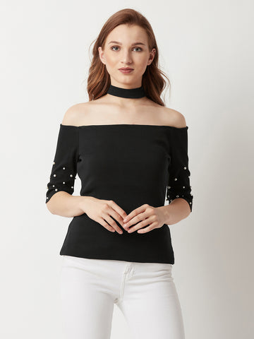 Payphone Pearl Ribbed Choker Top