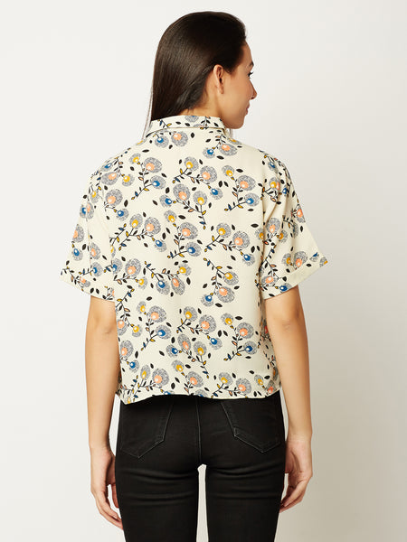 Slouch On Knotted Crop Shirt