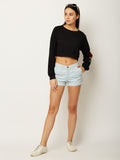 One Step Up Patched Oversized Crop Top