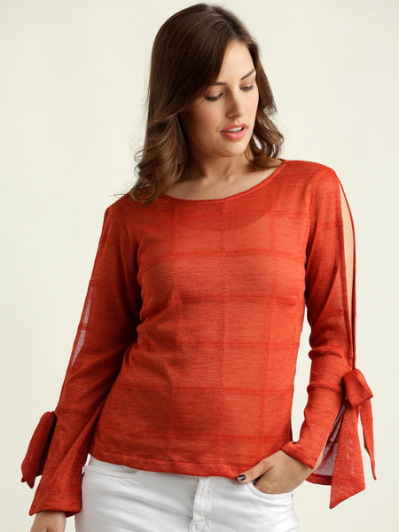 Under Construction Knot Sleeve Top