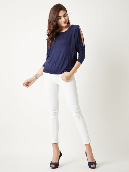 Stone Cold Shoulder Ruching Top