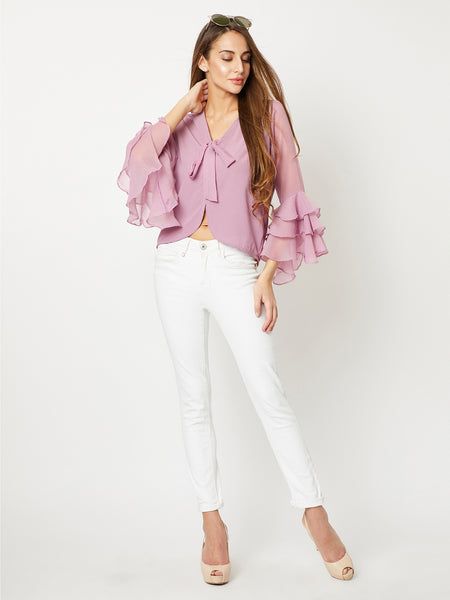 Faded Forever Ruffle Sleeve Top