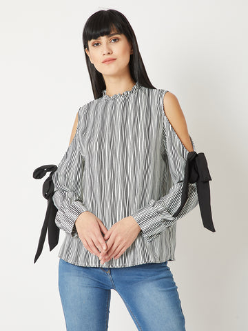 Lined Up Cold Shoulder Knot Top