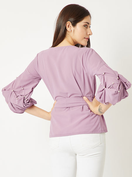 All Good Vibes Wrap Belted Top