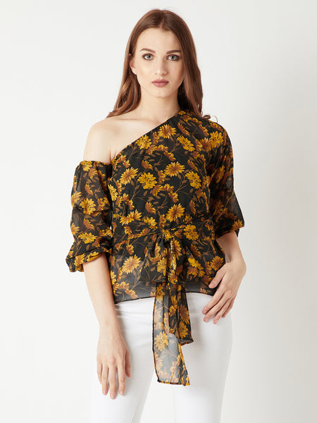 Bonjour One Shoulder Tie Up Top