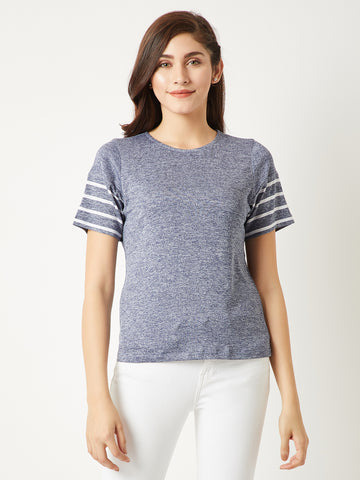 Step Back Striped Round Neck Top