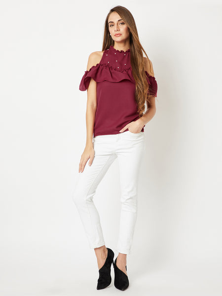 Both Of Us Cut-Out Pearl Top