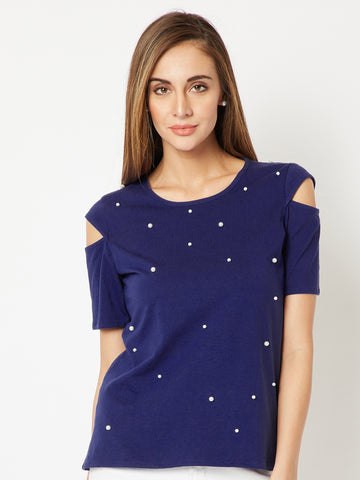 Stitch In Time Cut-Out Pearl Top