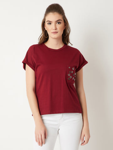 A Girl Like You Eyelet Pocket T-Shirt