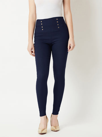 So Sassy Button High Waist Jeggings