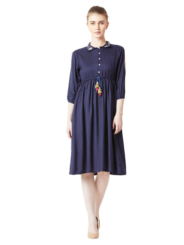 Normal Is Boring Embroidered Collar Dress