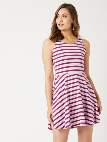 Thank You Notes Striped Skater Dress
