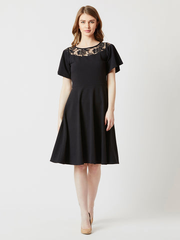 Never Stop Exploring Lace Skater Dress