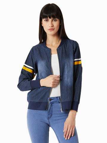 Play With Trims Denim Bomber Jacket