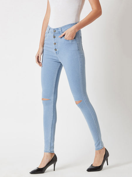 If I Looked Slit High Waist Denim Pant