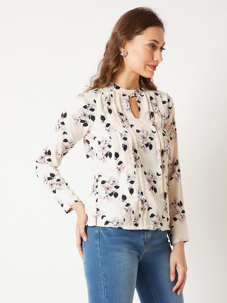 Vacation Mode Floral Pleated Top