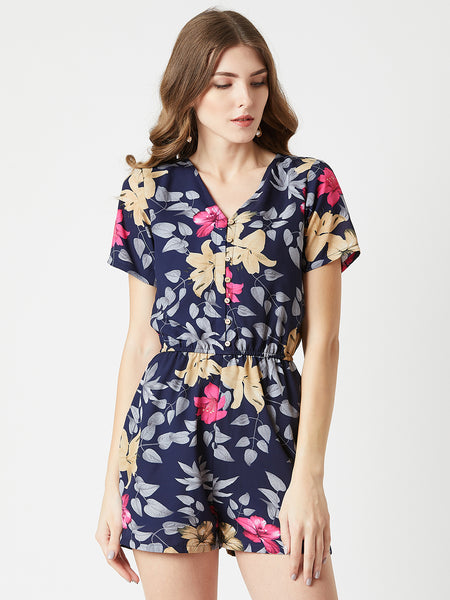 Party Without Me Floral Printed Playsuit