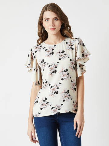 Diamond Heart Ruffle Sleeve Top