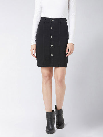 Over The Knee Black Denim Skirt