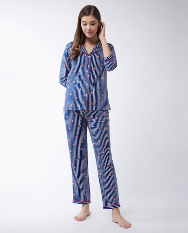 Cute Chaos Strawberry Printed Pajama Set