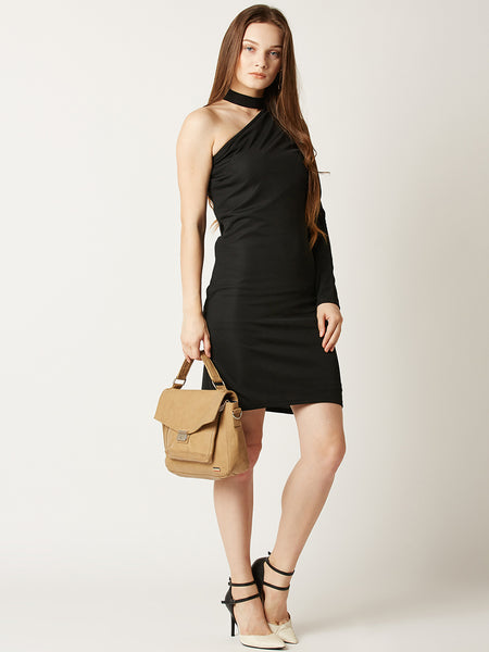 Mixed Signals One Shoulder Bodycon Dress
