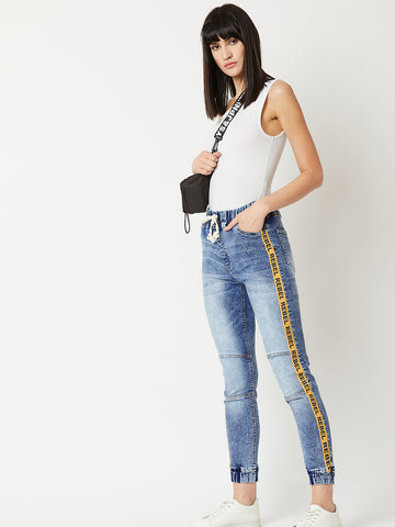 Let's Stay Home Patch Denim Joggers