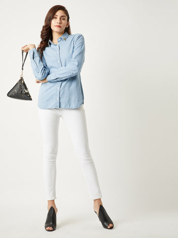 Love Card Spike Denim Shirt