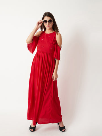 Intimidate Me Cold Shoulder Pearl Maxi Dress