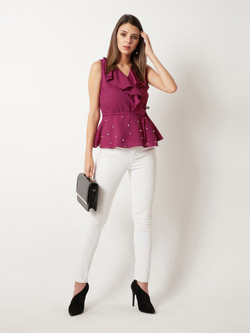 Pursuit Of Happiness Pearl Peplum Top