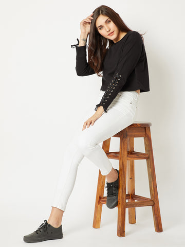 Sky Walker Criss Cross Crop Sweatshirt