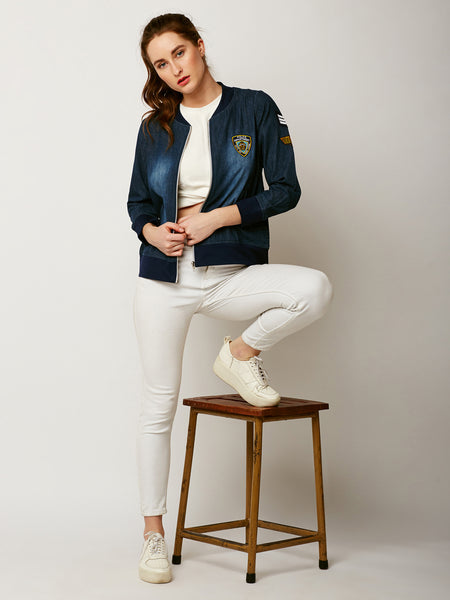 Sing Lullaby Patched Bomber Jacket