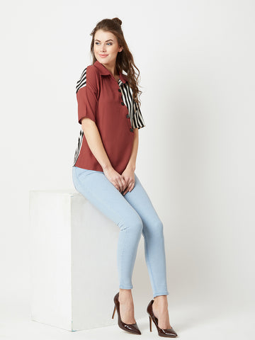 Boss Babe Striped Panel Top