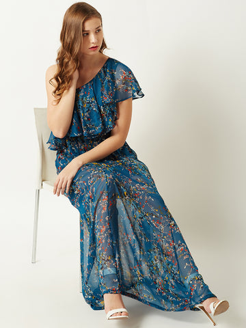 Caught My Eyes One Shoulder Maxi Dress