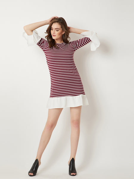Baby I Am Queen Stripe Ruffle Dress