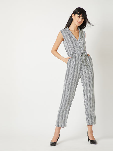 Floor Fillers Belted Collar Jumpsuit