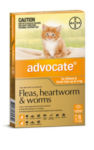 Advocate Spot-On Treatment for Fleas, Heartworm and Worms - Kittens & Cats (under 4kg)